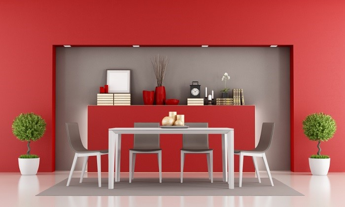 Red walls in dining